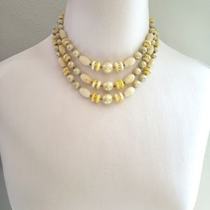 Vintage Midcentury Triple Strand Choker Necklace